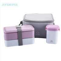 Japanese Double Portable Picnic Lunchbox Microwave Heating Lunch Box Fashion  Handbag With Chopstick Spoon Plate Flatware Set
