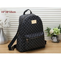 LV classic old flower checkerboard men and women backpack travel bag black check