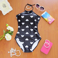 One Piece Swimwear Sexy Women Halter Swimwear Heart Shape High Neck White Monokini Bodysuit Push Up Swimming Suit Free Shipping