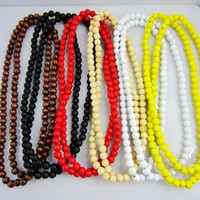 """New Hip Hop 8mm Chain Wood Beads Rosary chain Necklace 36"""" 11 Corlors U choose 1pcs"""