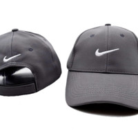 Gray Cotton Nike Embroidered Baseball Sports Cap