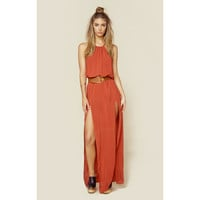 2 Slit Halter Dress in Burnt Amber