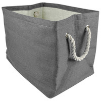 Solid Woven Bin, Gray, Medium, Storage Baskets