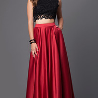 Embroidered Two Piece Prom Dress