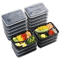 Meal Prep Food Containers 32 oz (20 Pack),  3 Compartment Bento BPA Free Lunch Boxes Reusable Organization Cases (FDA, SGS & LFGB Certified, Heat and Cold Resistant, Stackable for Storage)
