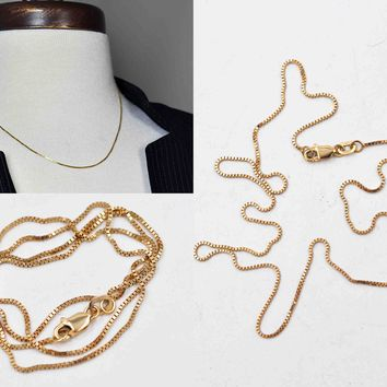 Vintage Italy 14K Yellow Gold Box Chain Necklace, Italian Gold Chain, 18 Inches Long, 2.5 Grams, Fine Gold, Beautiful! #c603