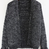 Black Long Sleeve Knitted Cropped Cardigan