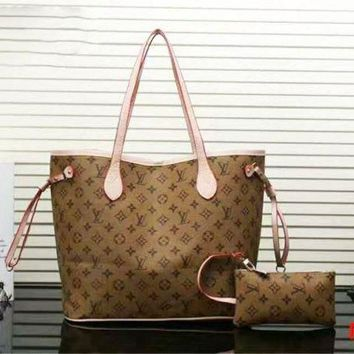 Louis Vuitton Light brown LV Women Shopping Leather Handbag Tote Satchel Shoulder Bag Two-Piece