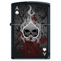 Zippo 0649 Classic Black Matte Ace of Spades-Death/Skull Windproof Pocket Lighter