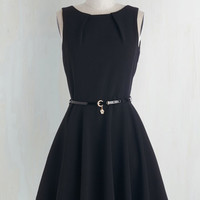 LBD Mid-length Sleeveless Fit & Flare Luck Be a Lady Dress in Black