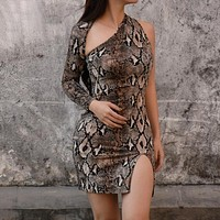 Women Long Sleeve One Shoulder Sexy Party Dress