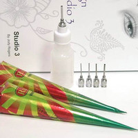 Fun & Easy Natural Henna Mendhi Tattoo Paste Kit 2 Pre Mixed Cones, Applicator Bottle And Design Book