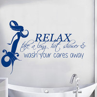 Mermaid Wall Decal Quote Relax Take a Long Hot Shower Vinyl Stikers Art Mural Home Decals For Bathroom Girl Spa Decor Interior Design KY62
