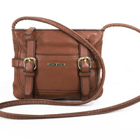Etienne Aigner Petite Crossbody Bag Tote Chestnut Brown Leather Purse