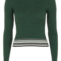 TALL Stripe Crop Jumper - Green