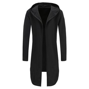 Men Hooded Sweatshirts Black Gown Hip Hop Mantle Hoodies Fashion Jacket Long Sleeve Open Front Cloak Man's Coats Jacket Outwear