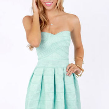 Bell Curves Ahead Strapless Mint Blue Bandage Dress