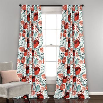 Popping Up Poppies Room Darkening Window Curtains