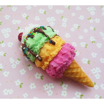 Rainbow Sherbet Ice Cream Cone Magnet