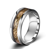 Dragon Tungsten Carbide Ring Men's Silver Wedding Bands
