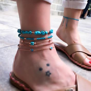 Tocona Boho 5pcs/sets Natural Stone Anklets for Women Beaded Eyes Geometry Feet Bracelets Beach Jewelry Accessories