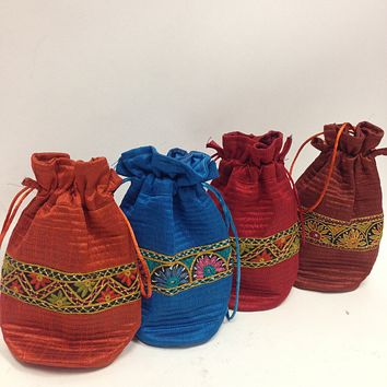 BD-Silk Embroidered Potli bag- available in four colors