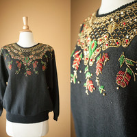 Vintage 80s Beaded Sweater   80s Sweater Novelty Holiday Jumper Winter Slouchy Cosby Tacky Christmas Ugly Xmas Black Sweater Boxy Oversized