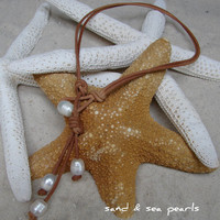 2 in 1...Pearl and Leather Necklace...FREE SHIPPING to US