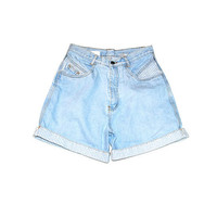 light wash denim shorts 80s vintage new wave striped rolled up light jean shorts size