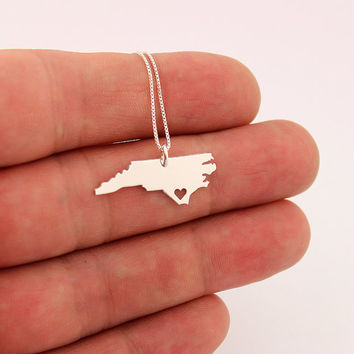 North Carolina necklace sterling silver North Carolina state necklace with heart comes with Box style chain