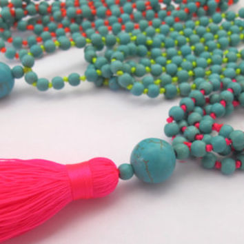 Bright Beaded Tassel Necklace - Aqua Beaded - Neon Brights