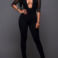 Black Cut Out Grenadine Catsuit Band Collar One Piece Clubwear Party Long Jumpsuit
