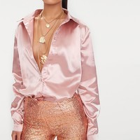 Rose Gold Satin Button Front Shirt