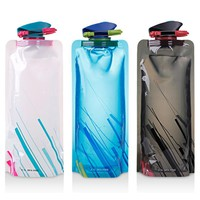 Sports Travel Portable Flexible Collapsible Foldable Reusable Outdoor 700ml Water Bottles Outdoor Sports Water Bottle