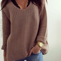 hot loose V hollow out sweater