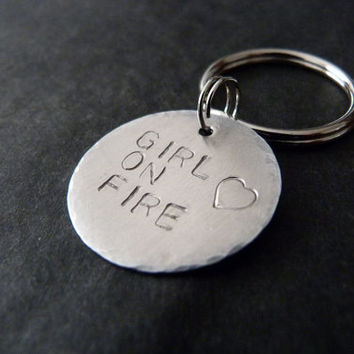 ON SALE Girl on fire key chain, girl on fire gift, aluminum, handstamped keychain