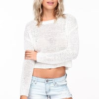 PASTEL CROPPED KNIT SWEATER