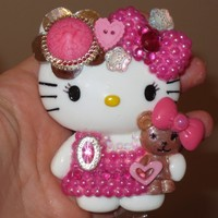 New! Pink! Hello Kitty and Teddy Bear Id Badge Reel Holder SALE | evezbeadz - Accessories on ArtFire