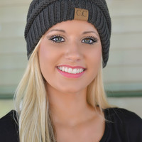 Charcoal Slouchy Knit Beanie