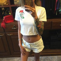 Sexy Summer Crop top T-shirt White Black Floral Rose Cobra Snake Printed Hippie Punk Short Sleeved Cotton Casual t-shirt 2017