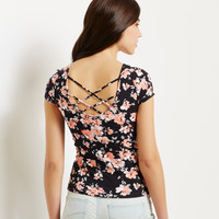Aeropostale  Map to Mars Floral Lattice Back Bodycon Top