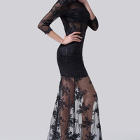 Black  Sheer Mesh Lace Overlay Backless Evening Dress