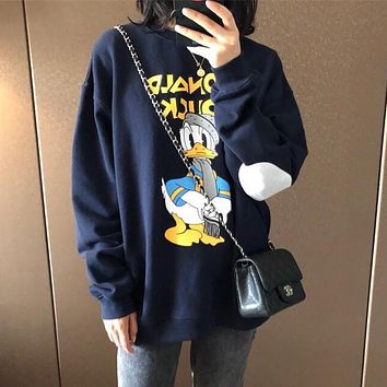 Women Casual Cute Donald Duck Long Sleeve Sweater Round Neck Casual Tops