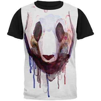 Watercolor Drip Panda Adult Black Back T-Shirt