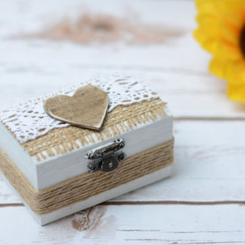 Rustic Wedding Ring Box Burlap Shabby Chic Ring Holder Ring Bearer