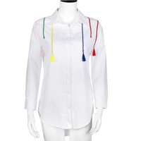White Shirt Blouse Women Loose Solid Lomg Sleeve Tassel Tops Office Ladies Cotton Casual Tops Cropped Feminino#F913