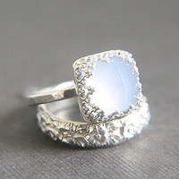 Vintage Style Chalcedony Wedding Ring Set - Eco Friendly Engraved Wedding Band & Engagement Ring - Alternative Diamond