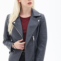 FOREVER 21 Quilted Moto Jacket Dark Grey