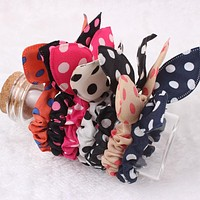 2017 Small Rabbit Ear Hair Scrunchies Stripes Dots Lovely Colors Knot Headband Bow for Girls Headwear Hair Accessories for women