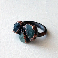 Aquamarine Apatite Sapphire Copper Ring Winter by MidwestAlchemy